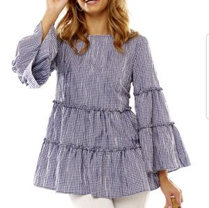 Sara Campbell Gingham Tiered Swing Blouse, XL